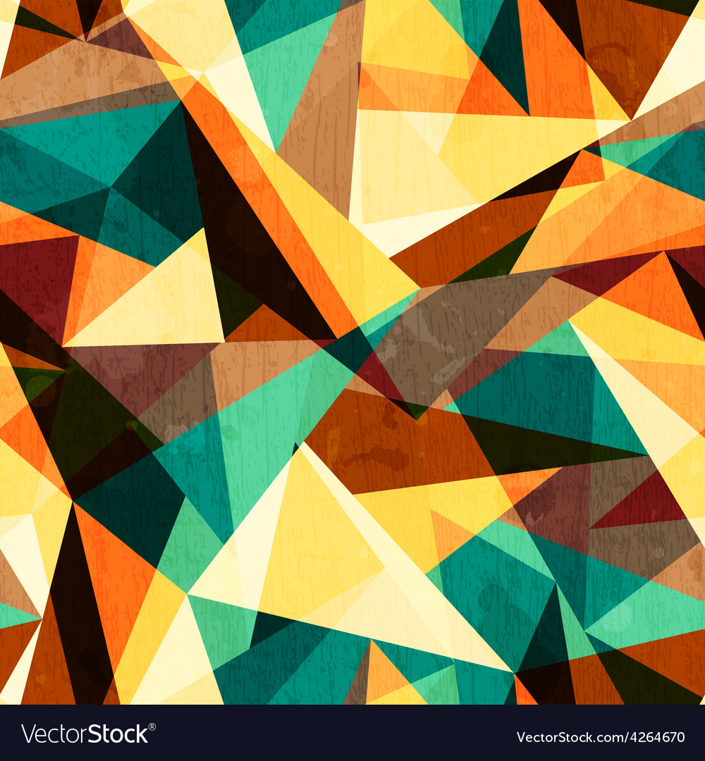 Colored triangle seamless texture with wood effect