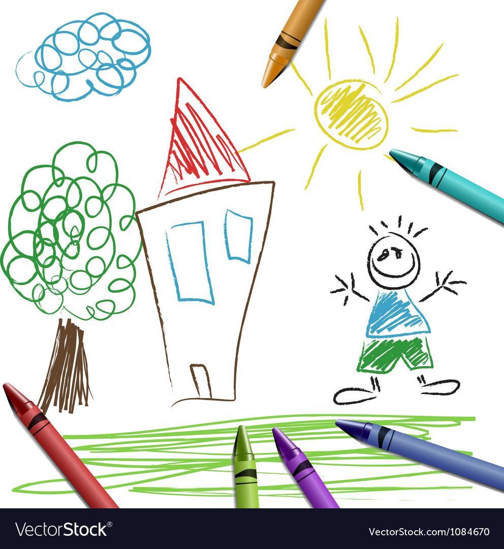 Crayon set with kid drawing Royalty Free Vector Image