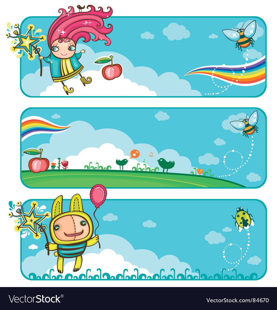 Fairy sunny banners for kids vector image