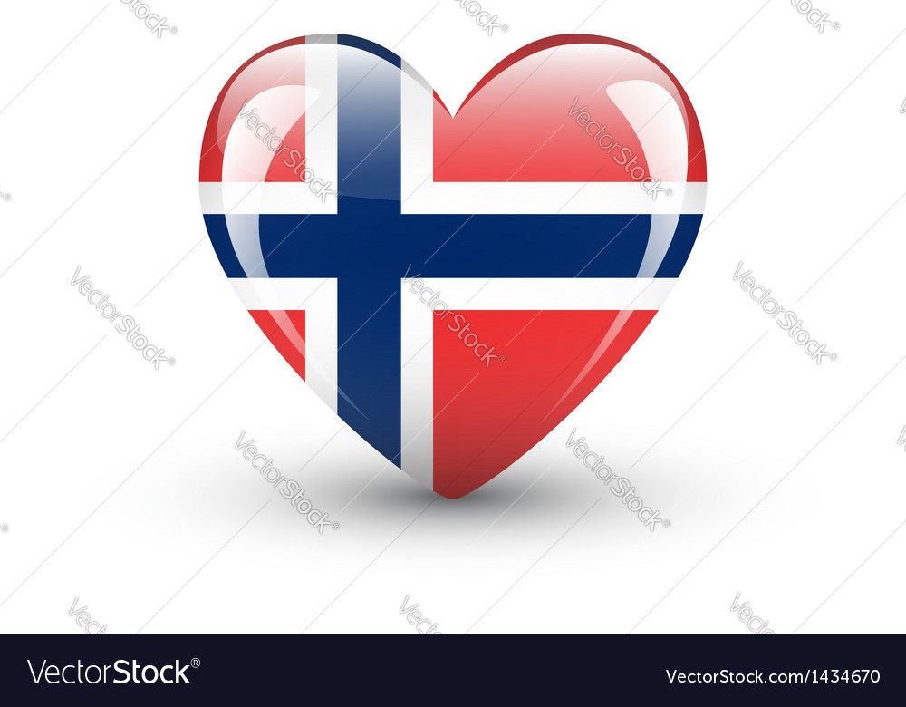 Heart-shaped icon with national flag of Norway vector image