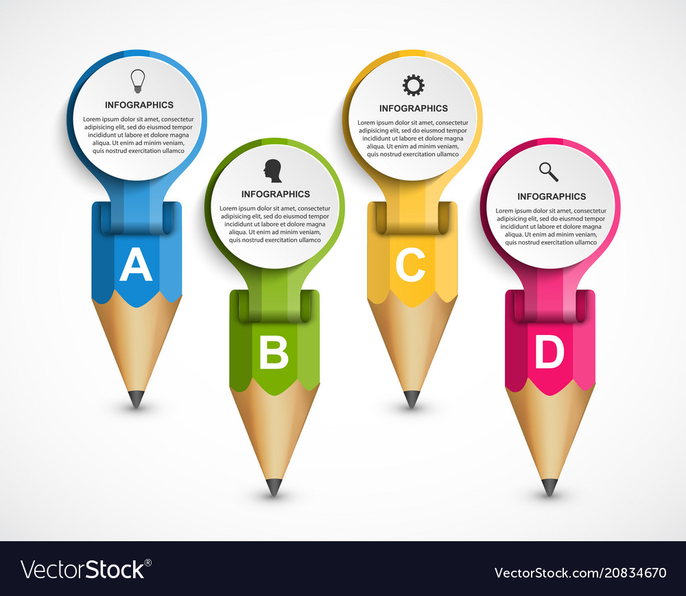 Infographics template with colored pencil in the