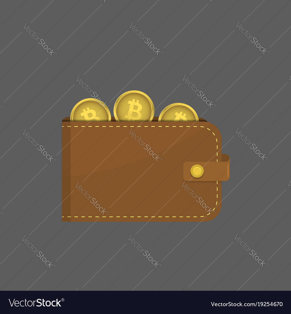 Leather wallet with bitcoins