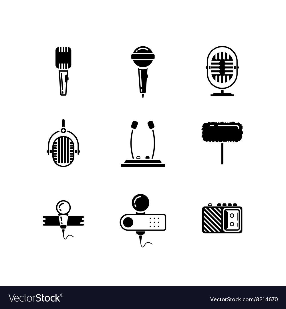Microphone black icons set