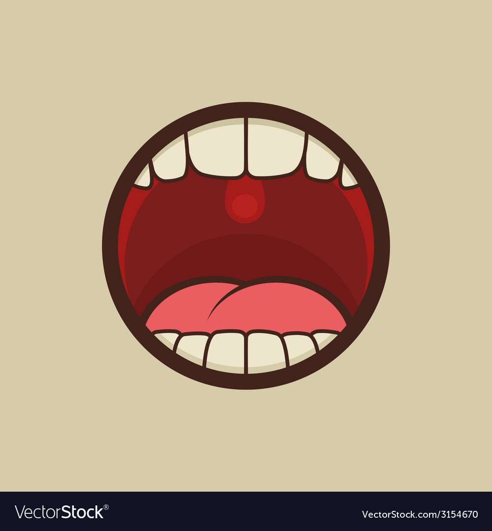 Open Mouth with Teeth and Tongue