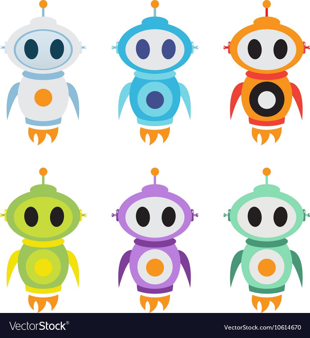 Robot rocket mascot logo Cute robot character