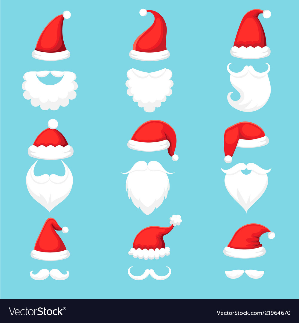 Santa claus hat and beard christmas traditional Vector Image 1854107b41a8