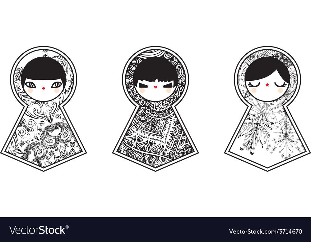 Three geometric babushka matryoshka dolls