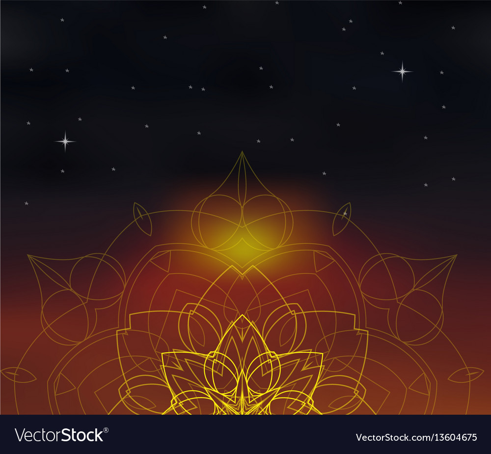 Background with shiny mandala on blurred space