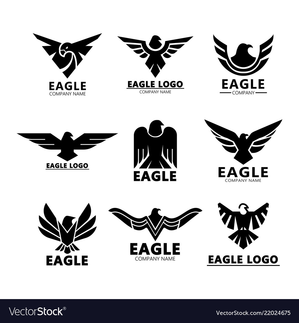 Black eagles silhouette for company branding