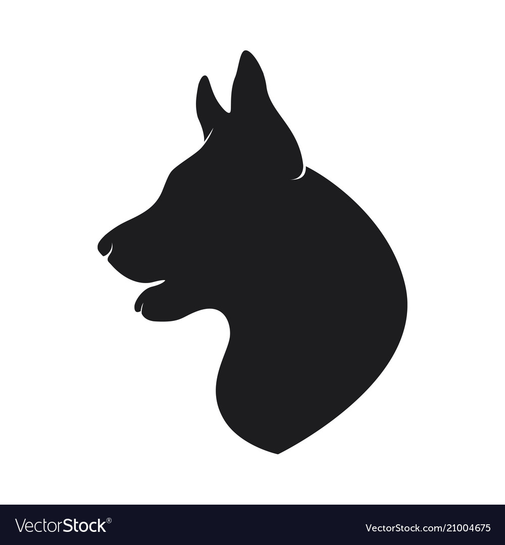 Black silhouette head of the dog on background