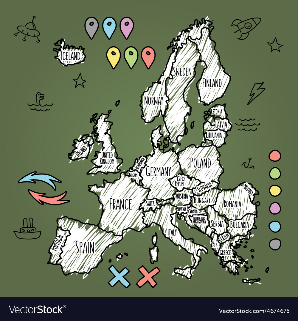 Doodle Europe map on green chalkboard with pins