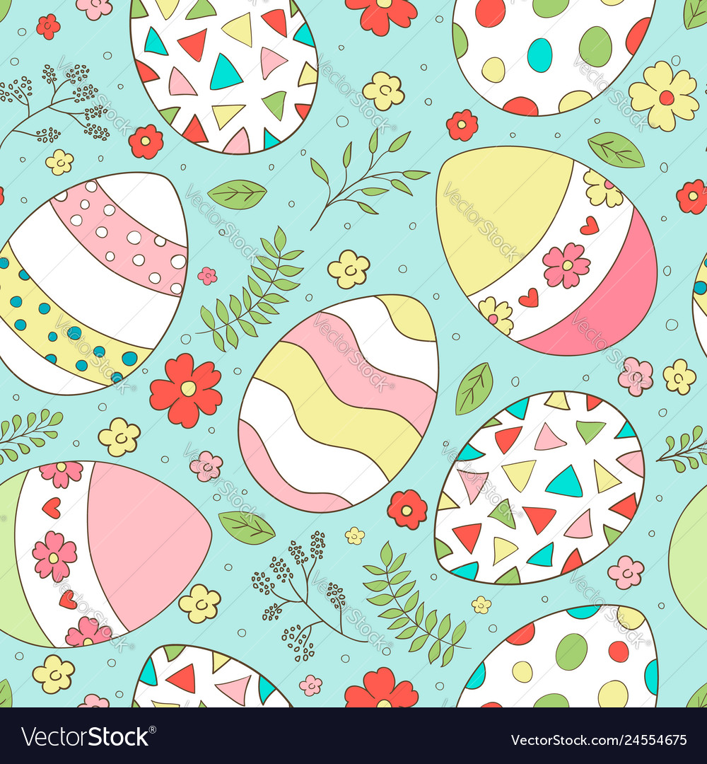 Easter seamless pattern with spring flowers