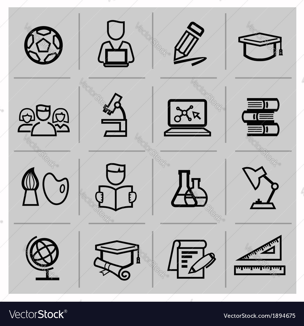 Education icons signs set