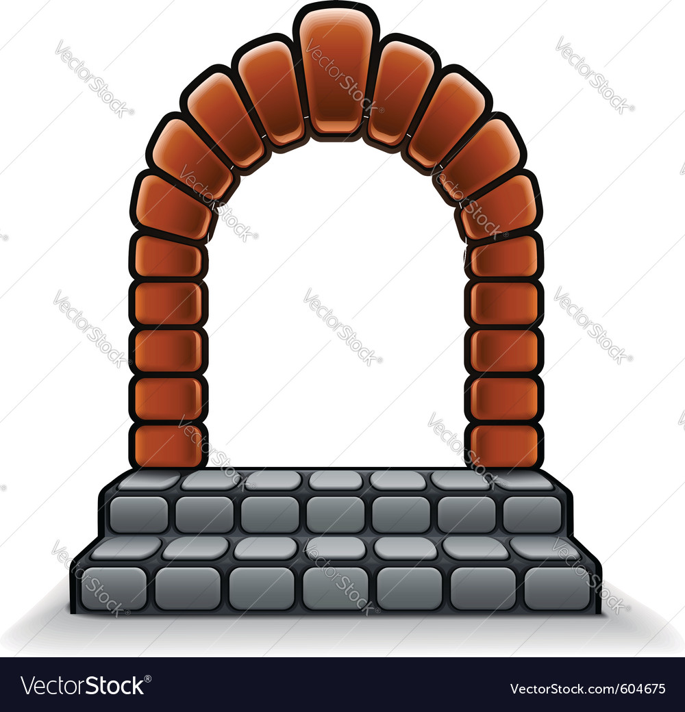 Entrance stone door vector image