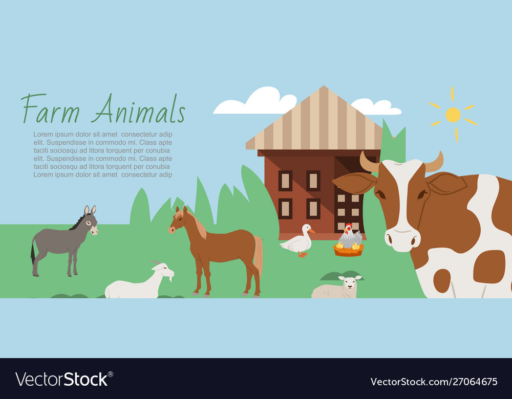 Farm animals and rural landscape background