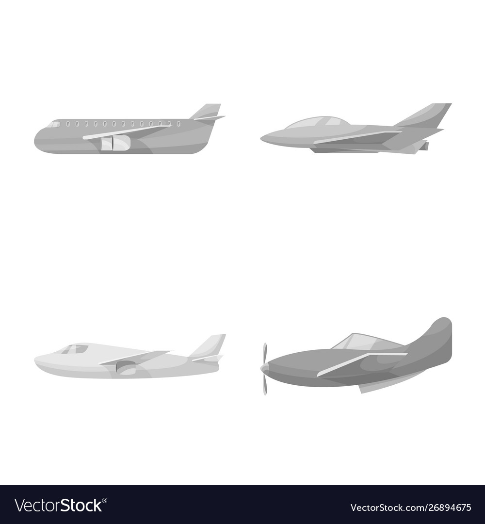 Isolated object aviation and airline icon set