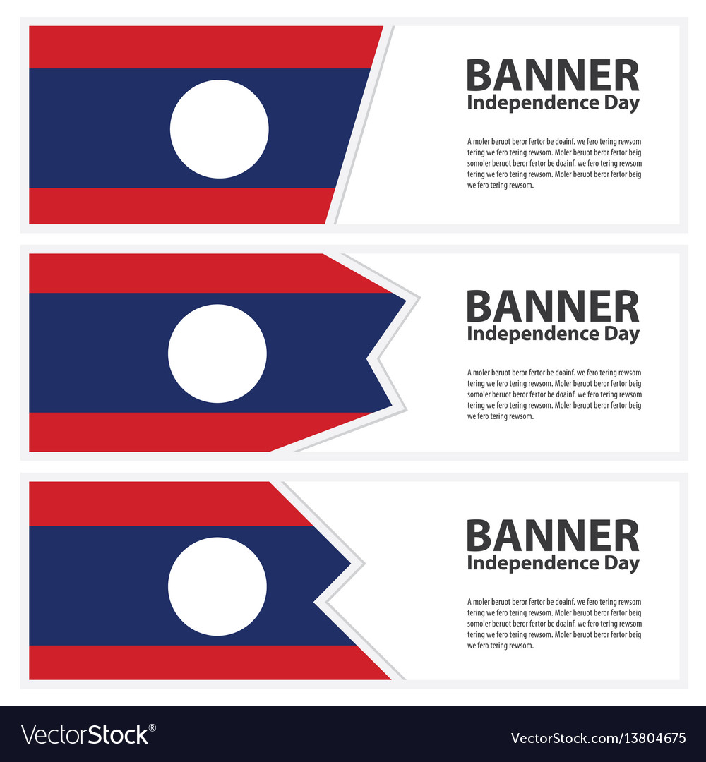 Laos flag banners collection independence day vector image