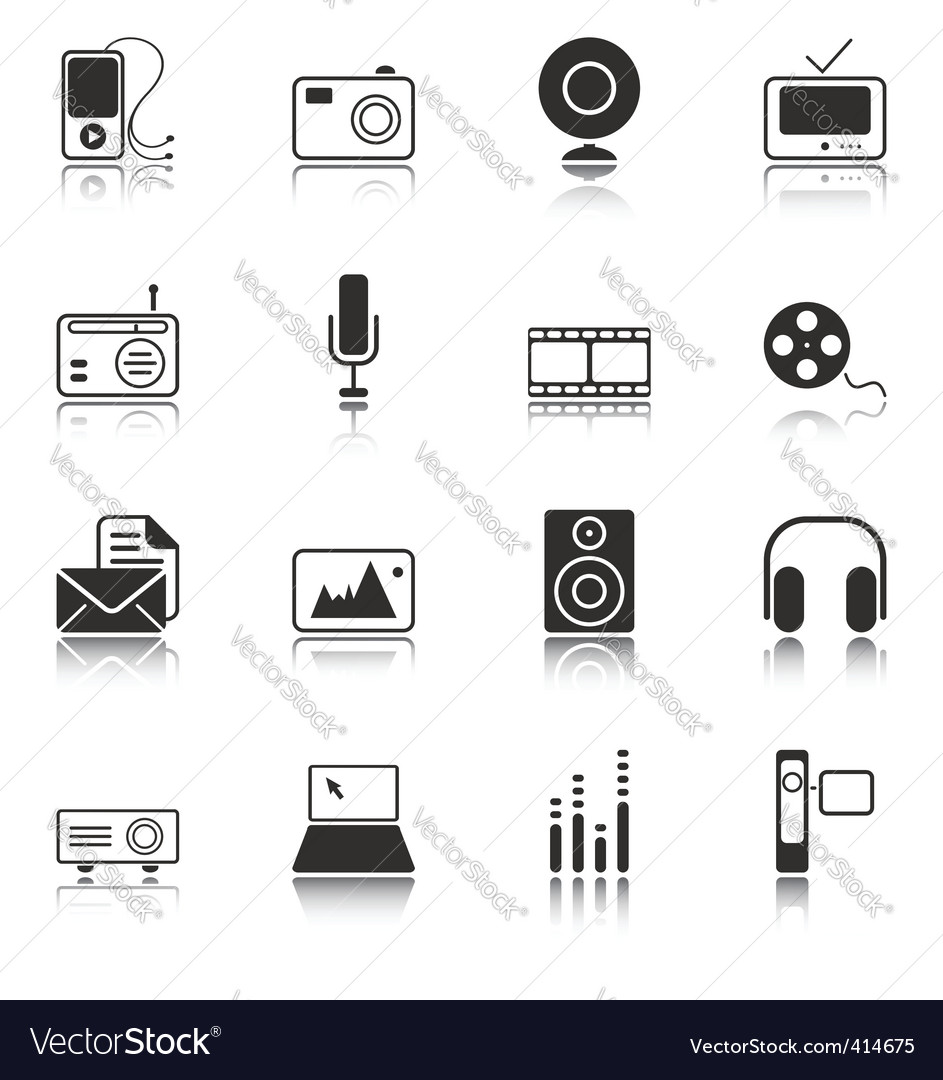 Mass media icons white series