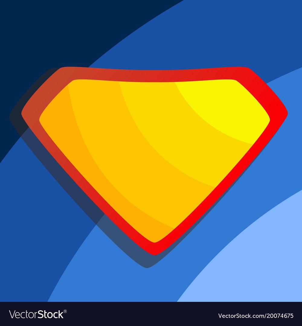 Superhero logo yellow red shield emblem
