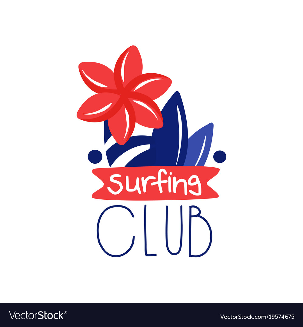 surfing club logo surf retro element or label vector image