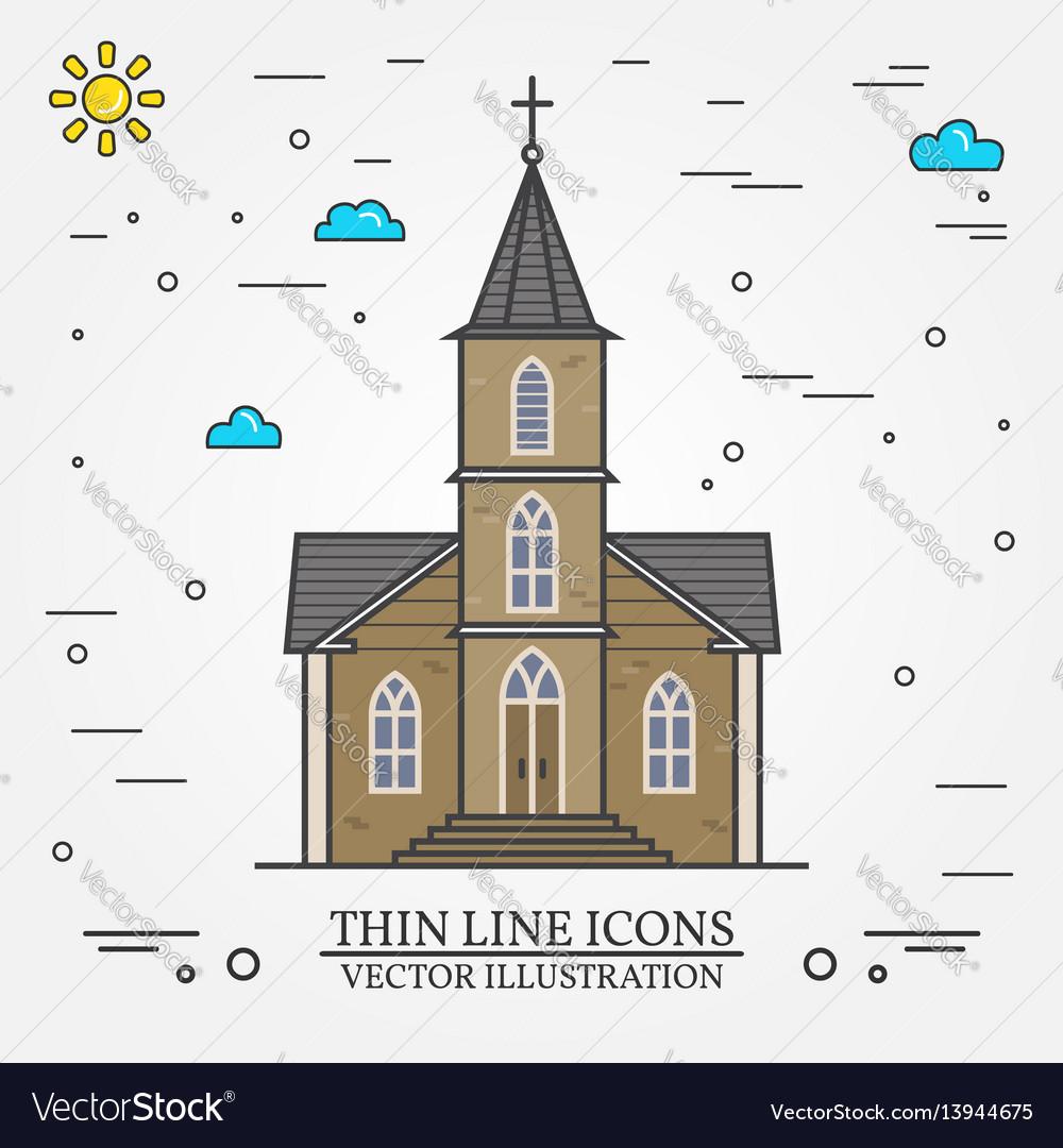 Thin line icon church