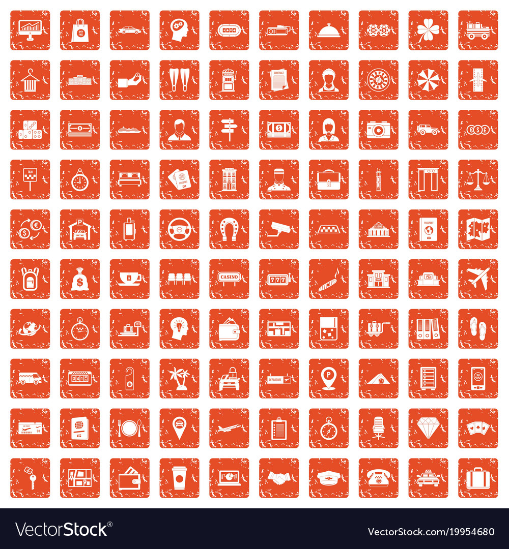 100 paying money icons set grunge orange