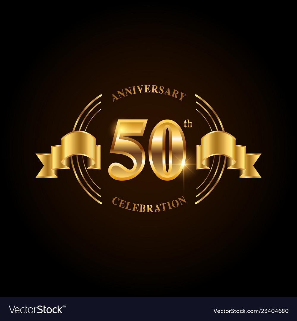 50 years anniversary celebration logotype golden