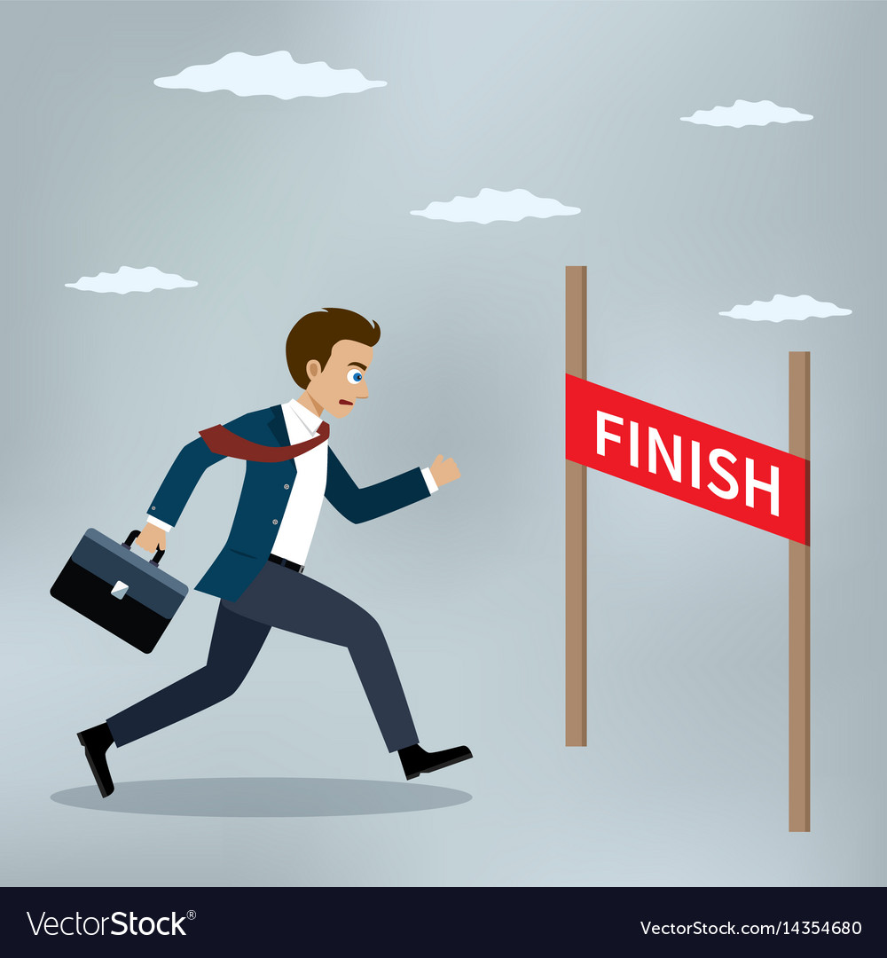 Businessman running to the finish line