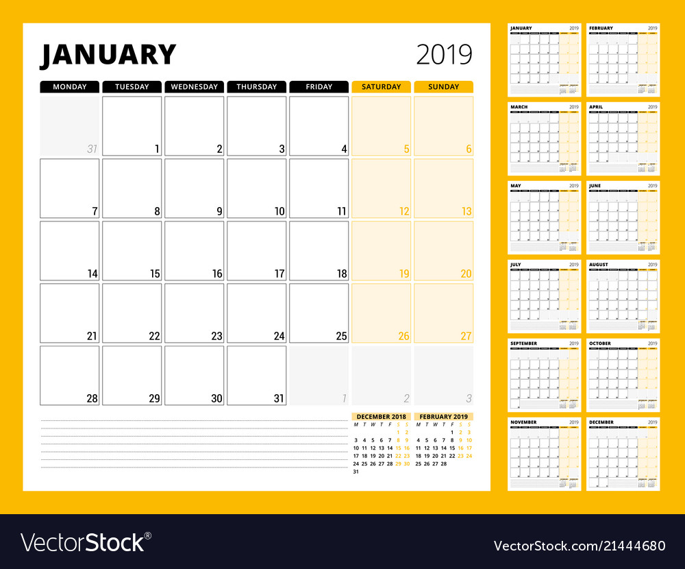 Calendar planner for 2019 year stationery design