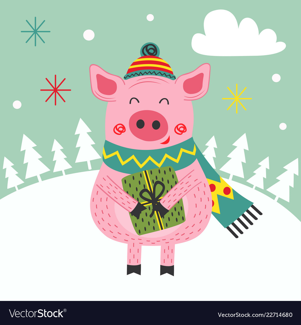 Card happy new year pig