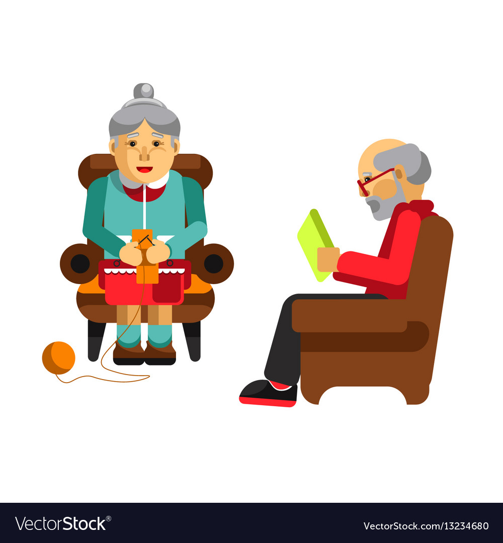 Daily activities of grandparents grandmother vector image