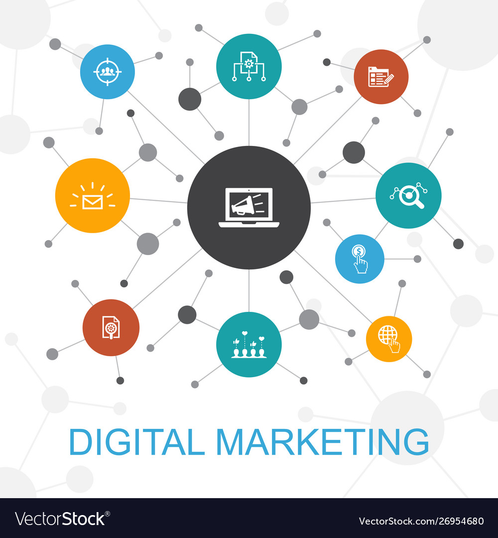 Digital marketing trendy web concept with icons