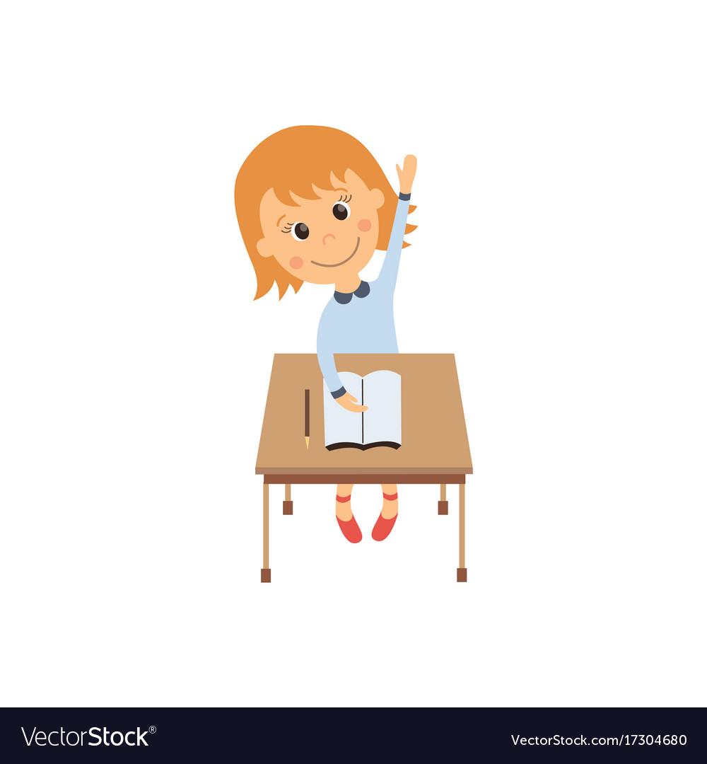 Flat girl sitting at desk raising hand vector image
