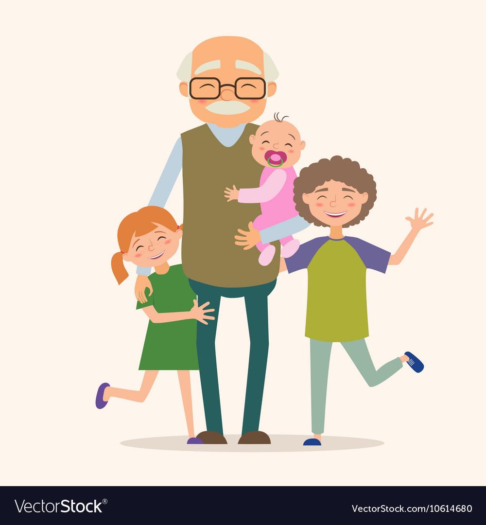 Grandfather with her grandchildren vector image