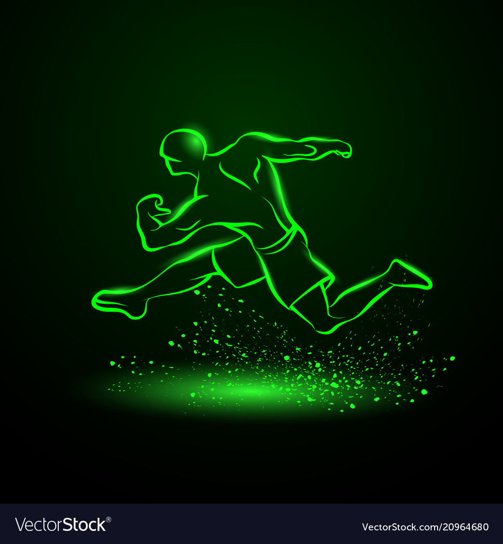 Green neon strong runner vector image