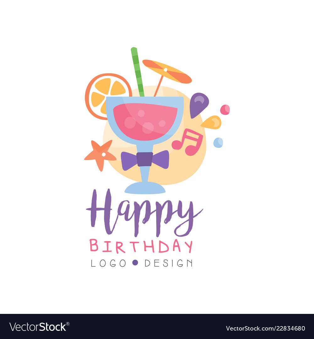 Happy Birthday Logo Colorful Creative Template Vector Image