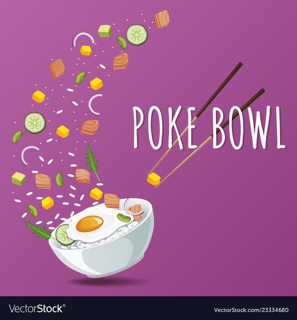 Hawaiian poke salmon bowl with greens