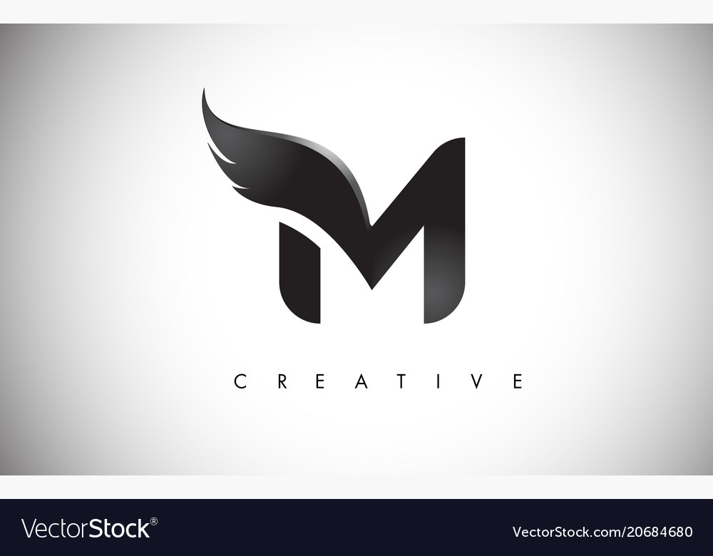 M Letter Wings Logo Design With Black Bird Fly