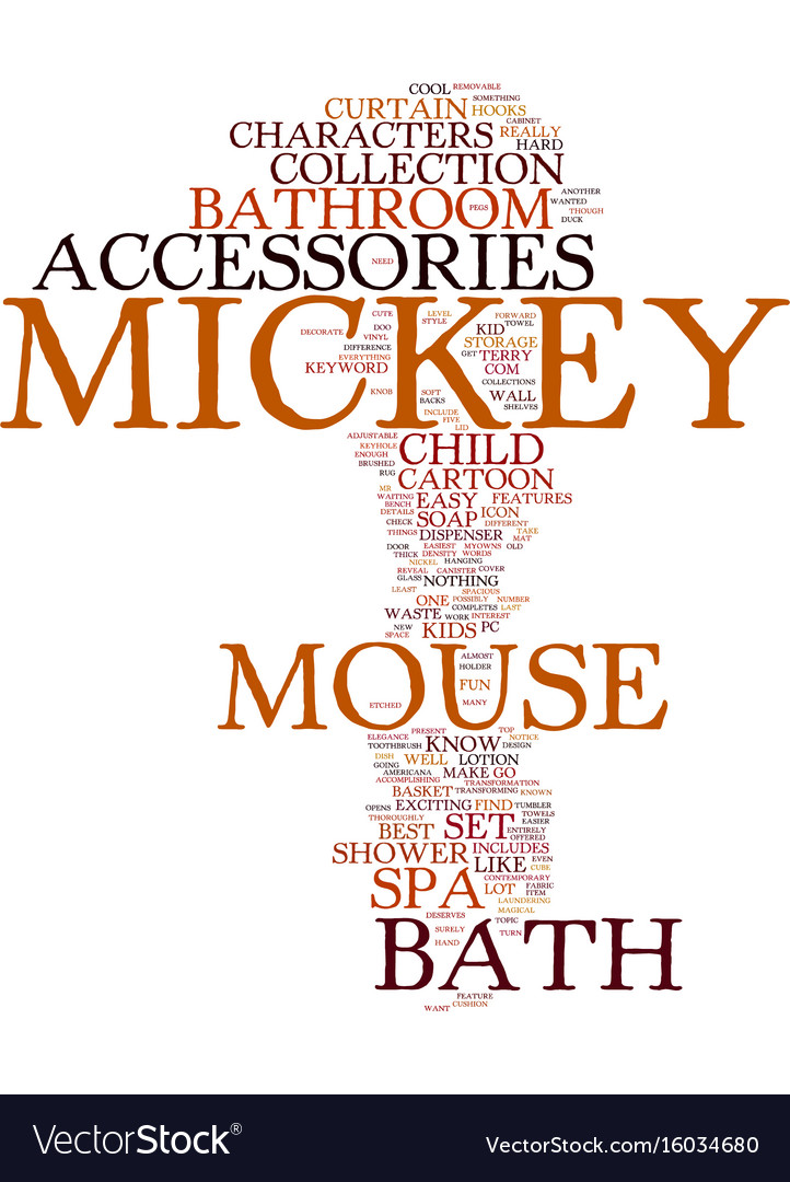 mickey mouse bath accessories text background vector image