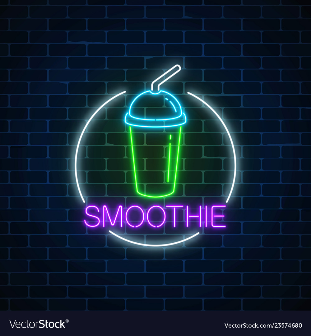 Neon glowing sign of smoothie in circle frame on