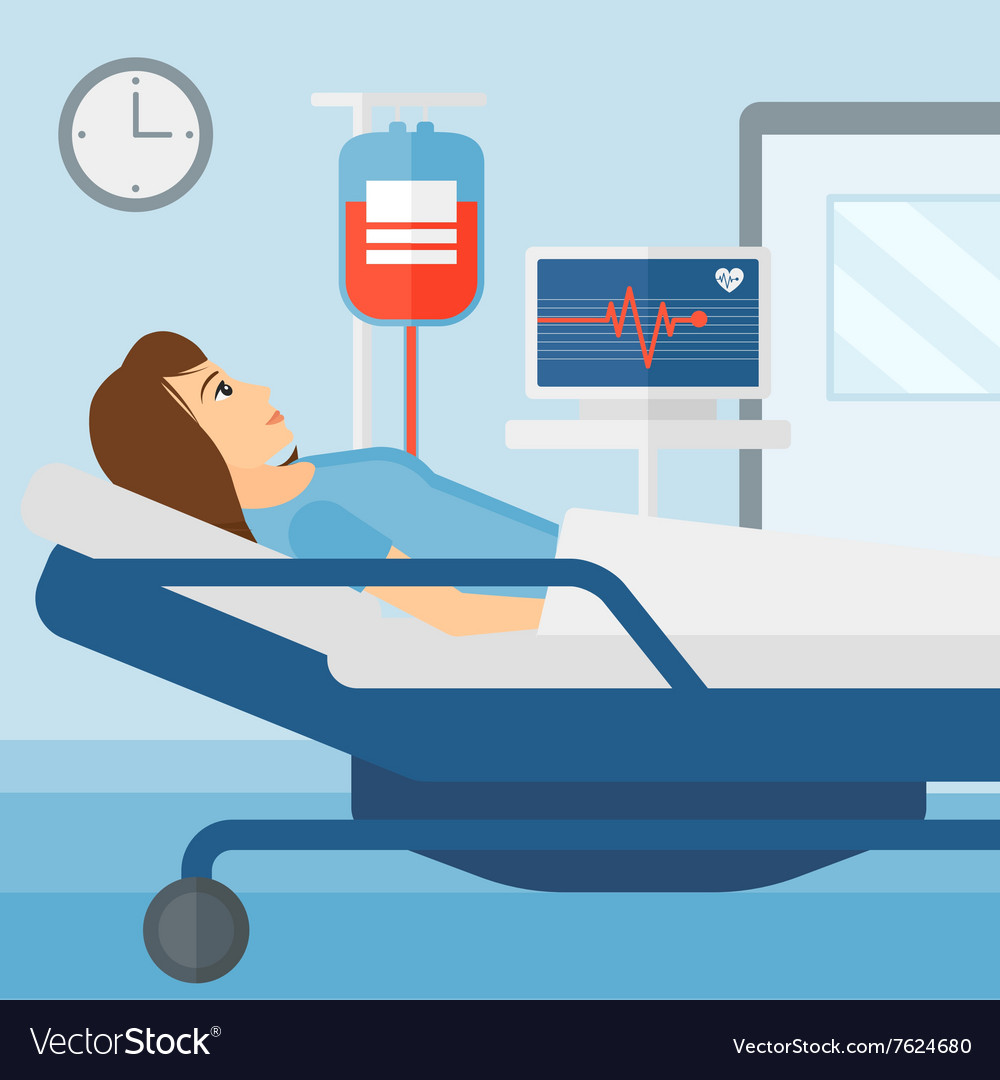 Etonnant Patient Lying In Hospital Bed Vector Image