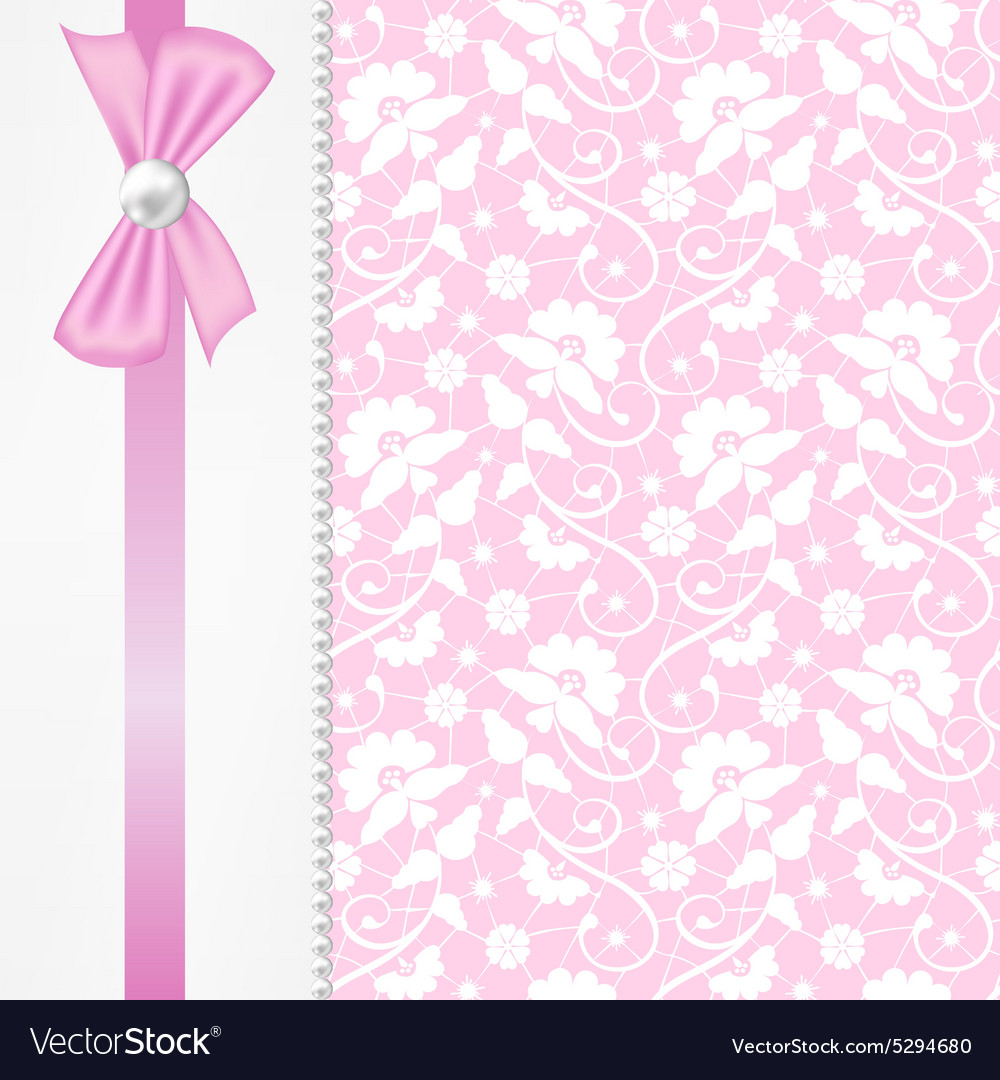 Pearl border on lace background vector image