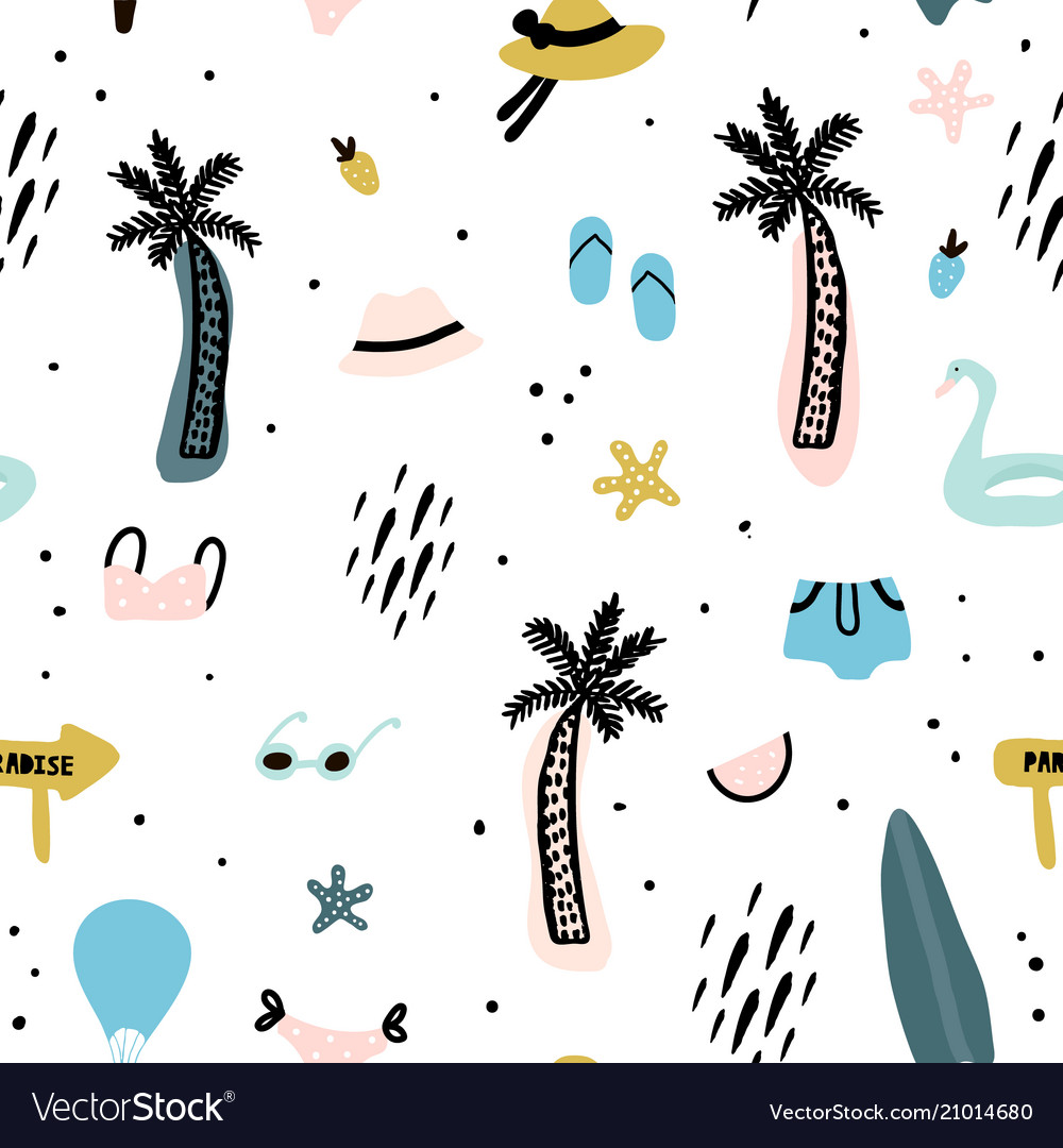 Seamless pattern with summer elements creative