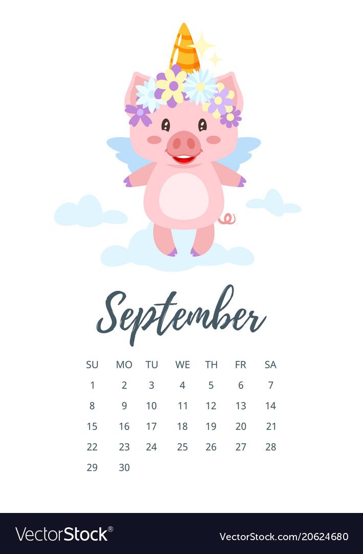September 2019 year calendar page