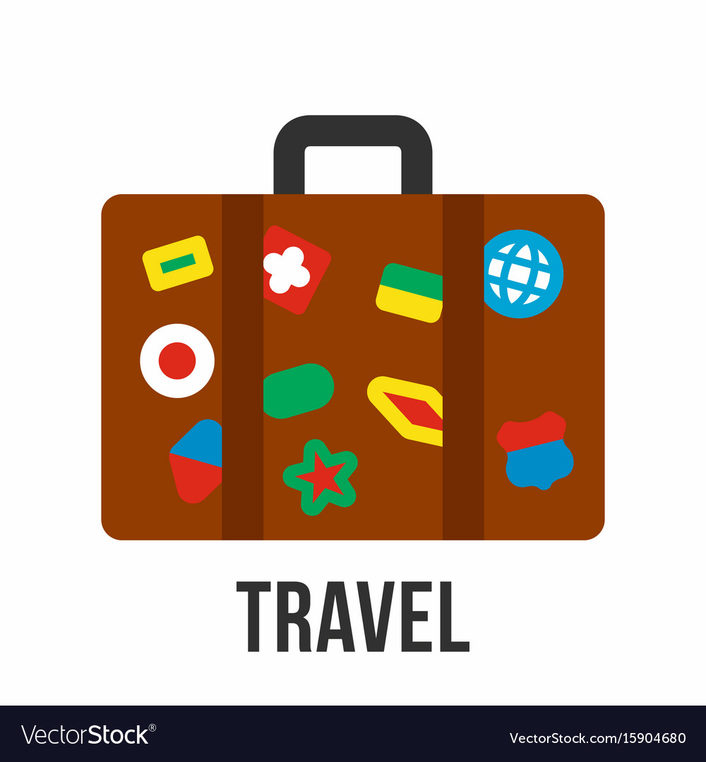 suitcase with stickers travel symbol royalty free vector