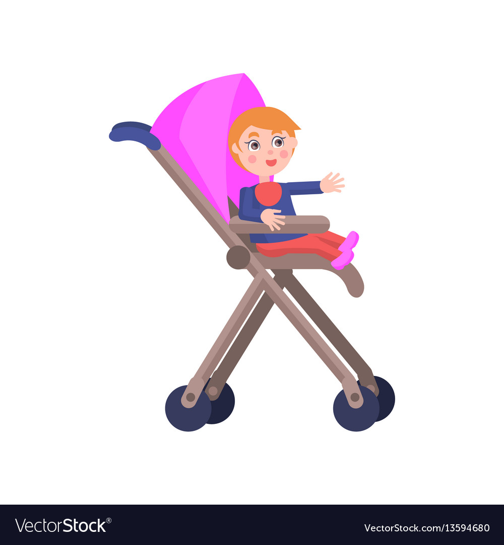 Toddler in baby carriage mother day
