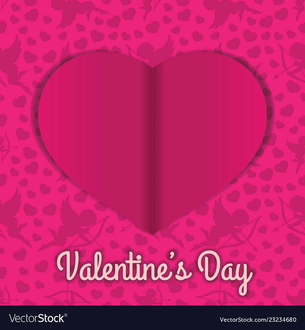 Valentines day background with cut paper heart