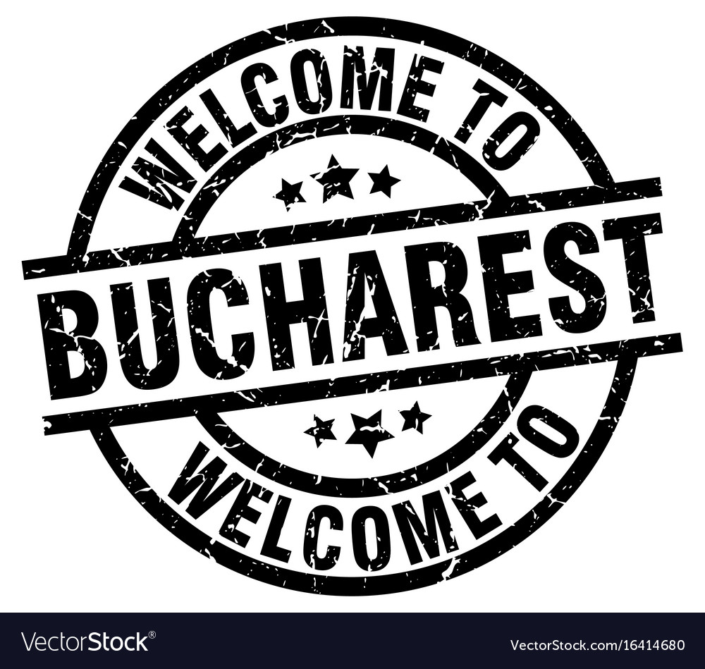 Welcome to bucharest black stamp