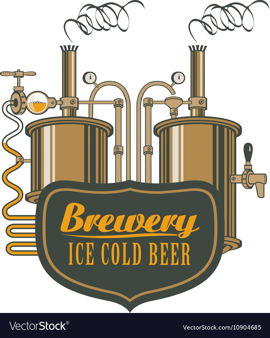 Beer brewery with barrels vector image