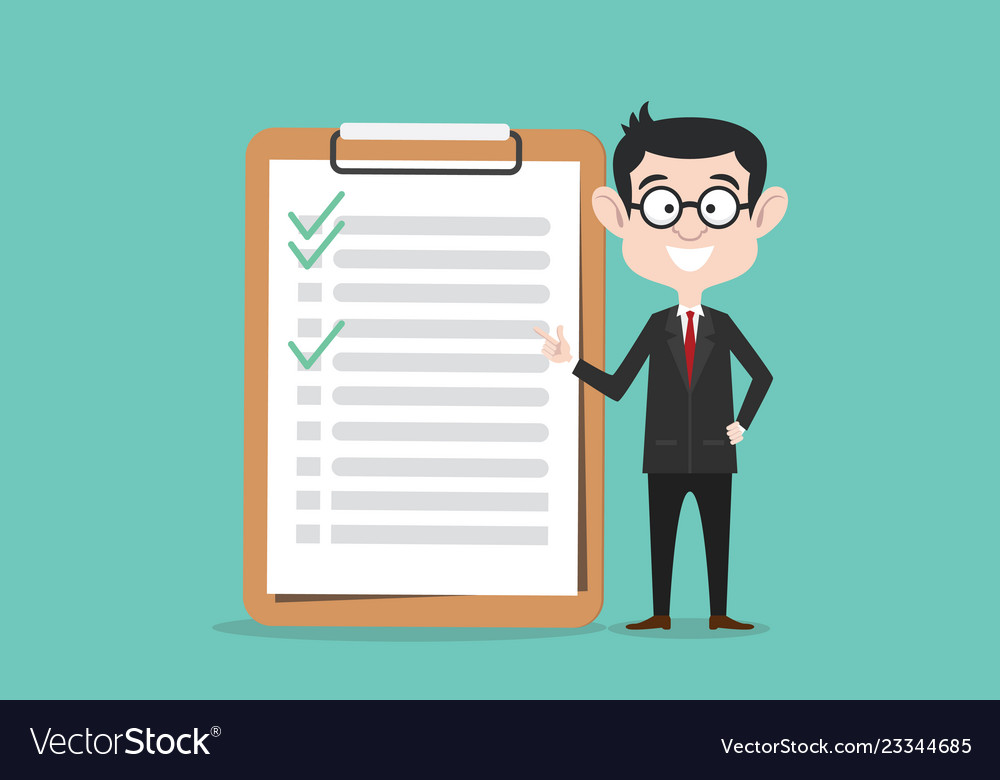 Checklist business man with clipboard and checked